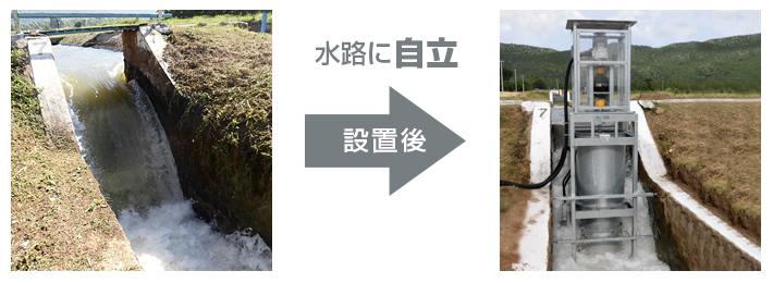 農業用水路(落差工)への設置事例